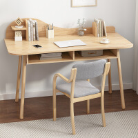 【1件3折 领券】进口材环保全实用实木书桌 日式北欧现代小户型 家用电脑桌椅长条写字办公桌