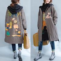 大码女装秋冬装肥mm风衣外套显瘦韩版中长款女200斤连帽卫衣