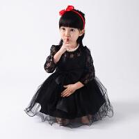 儿童礼服 黑色蕾丝裙子 女童长袖公主裙秋冬 秋装连衣裙花童女
