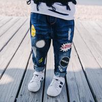 春季新款童裤男童牛仔裤儿童卡通裤休闲裤宝宝裤子中小童百搭长裤