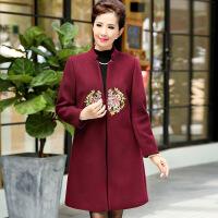 中年女装秋装长袖毛呢大衣中老年妈妈装秋冬绣花立领中长款外套 酒红色