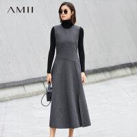 Amii优雅 不对称剪裁连衣裙 秋装无袖前开叉长裙.