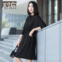 对白简约长袖连衣裙女新款纯色时尚蝙蝠袖系带连衣裙