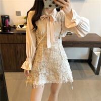 秋装女新款韩国小香风系领长袖衬衫+高腰显瘦粗花呢背带A字裙短裙