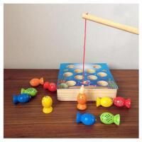 实木儿童3D立体钓鱼玩具池套装男女孩1236岁宝宝小猫钓鱼游戏磁性