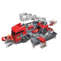 儿童汽车模型仿真收纳工程车停车场玩具变形汽车变形消防车男孩玩具礼物 变形消防车