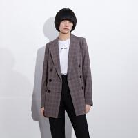 【2件3折 折后价:355】LILY女装复古格子双排扣含羊毛西装外套