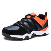 新款运动鞋男士休闲潮鞋加绒保暖棉鞋青年学生跑步鞋DEJD-1673 黑/深灰/桔红单鞋 39