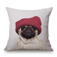 可爱萌宠巴哥抱枕 靠垫八哥犬狗狗 午睡沙发办公室靠枕芯新款特惠