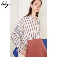 【此商品每满200减50,到手价249元】 Lily2019秋新款条纹设计感宽松蝙蝠袖全棉长袖衬衫女119310C42