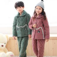 冬季儿童加厚夹棉法兰绒睡衣小孩珊瑚绒保暖套装男女大童家居服
