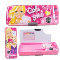 20180711185801604芭比公主多功能文具盒儿童塑料笔盒卡通可爱女孩小学生双面铅笔盒