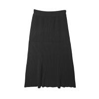 针织半身裙冬女高腰a字加厚保暖毛线长裙半裙中长款针织伞裙 黑色 预售5-7天