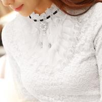 韩观加绒蕾丝打底衫女2017新款韩版长袖t恤小衫冬季加厚百搭女士上衣 白色 加厚羊胎绒 2XL 适合115-125斤