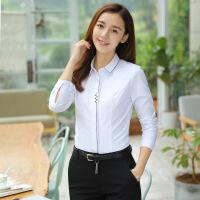 职业白衬衫女长袖工装秋季新款工作服打底正装白色衬衣修身秋上衣