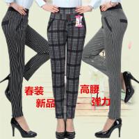中老年裤子春款中年女士高腰弹力妈妈装格子打底裤小脚长裤