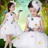 儿童礼服演出服拖尾 新款女童礼服蓬蓬裙花童礼服女冬季婚纱公主裙 白色