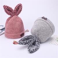 韩版儿童帽子女秋冬季兔耳朵针织毛线帽女童加绒保暖套头帽宝宝帽
