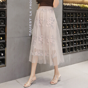 AGECENTRE 2018夏季新款中长款百褶刺绣网纱半身裙 A字裙