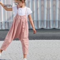 amii女小儿童2018夏新款背带裤 韩版时尚吊带裤1-3岁宝宝潮洋气