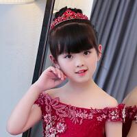 女童公主裙花童秋冬婚纱配饰儿童演出小皇冠头饰可爱发饰红色