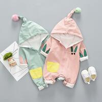 婴儿衣服春装外出服男女宝宝0-6个月初生儿爬服卡通带帽抱衣