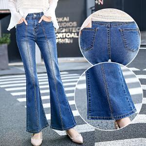 新款秋季中腰大喇叭裤女牛仔裤修身微喇裤长裤显瘦韩版女裤