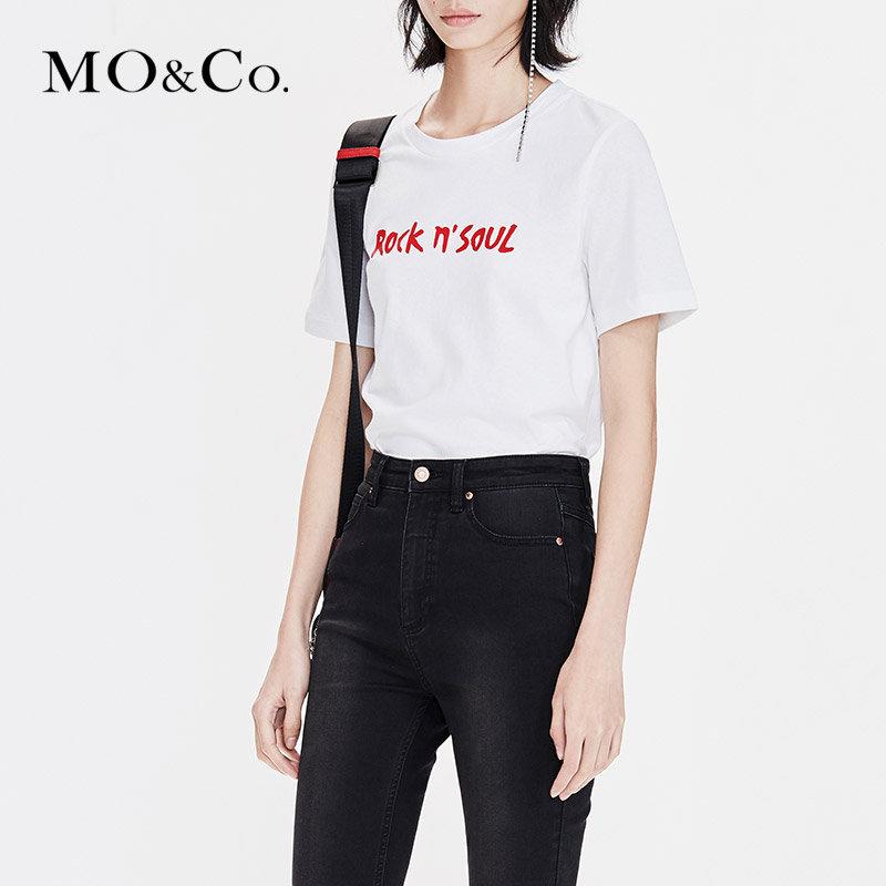 MOCO2019春季新品纯棉圆领标语印花T恤MAI1TEE006 摩安珂 满399包邮 舒适纯棉 标语印花