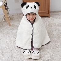 披肩围巾两用斗篷外套女孩秋冬小孩羊绒帽子宝宝
