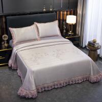 伊迪梦家纺 床单式可水洗凉席三件套加粗600D冰丝提花印花蕾丝贴边1.5/1.8/2m米床AN401