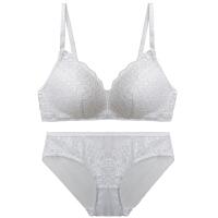无钢圈内衣女套装聚拢小胸性感蕾丝薄模杯夏季透气薄款文胸 白色 套装