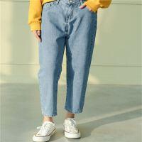 哈伦牛仔裤女18春夏装版宽松百搭高腰显瘦九分裤学生阔腿裤子