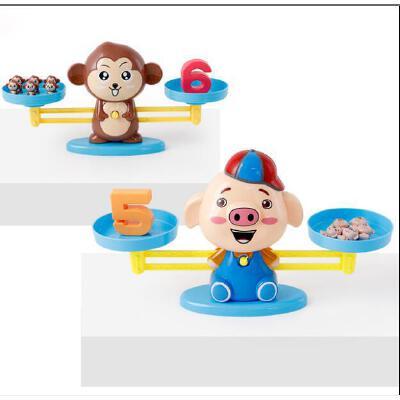 儿童数学启蒙小猴子小狗猪猪早教天平 男女孩数字加减法秤玩具