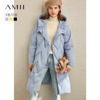 Amii极简轻暖时尚chic羽绒服女2020冬季新款大码连帽茧型黑色上衣