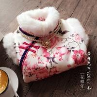 冬季新款加绒加厚兔毛保暖无袖马甲学生短款修身少女日常旗袍 花色