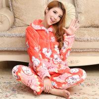 夹棉法兰绒睡衣女加厚水貂绒家居服套装 红色