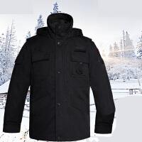 保安作训服大衣冬装棉衣黑色多功能大衣加厚防寒作训大衣 黑色无呛袋