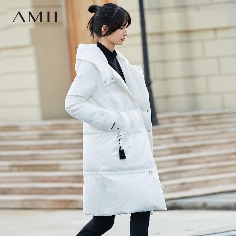 【品牌团 1件7折/2件5折】Amii[极简主义]军旅 90白鸭绒羽绒服 冬季新款帽领拼吊饰宽松外套