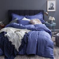 家纺美式简约纯棉贡缎四件套全棉床单被套枕套1.5/1.8米纯色裸睡床品