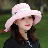 新款女士帽子户外防晒遮阳帽简约可折叠出游拍照太阳帽学生盆帽潮