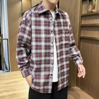 新款男格子衬衫宽松潮牌学生长袖休闲衬衣青少年男装外套寸衫