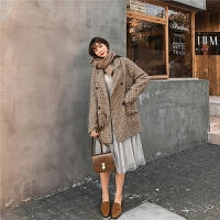 七格格毛呢外套女2019新款冬季中长款韩版宽松格子西装呢子大衣潮