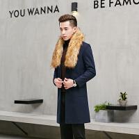 秋季毛呢大衣男中长款韩版修身呢大衣青年风衣秋装休闲潮流男装