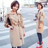 秋冬新品系带英伦学生宽松风衣中长款米色大衣宽松显瘦外套女