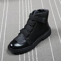 春季男士马丁靴英伦风厚底加棉高帮皮鞋黑色拉链潮流皮靴工装靴子
