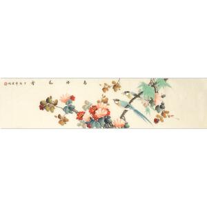 职业画家 李晓明《鸟语花香》136cmx35cm