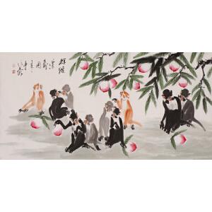 高级画师 徐培晨《群猴乐寿图》136cmx68cm