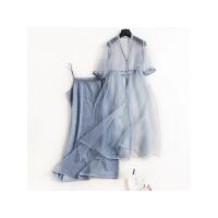 女装夏季花边拼接真丝欧根纱连衣裙桑蚕丝复古两件套
