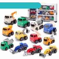 儿童小汽车工程车玩具套装耐摔小型挖掘机推土机宝宝惯性小号模型 工程队12只装礼盒套装