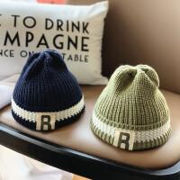 宝宝帽子秋冬天针织保暖儿童毛线帽字母男女童清新帽子潮